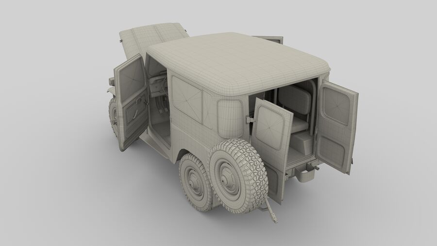 Toyota Land Cruiser FJ 40 with Interior and Chassis royalty-free 3d model - Preview no. 3