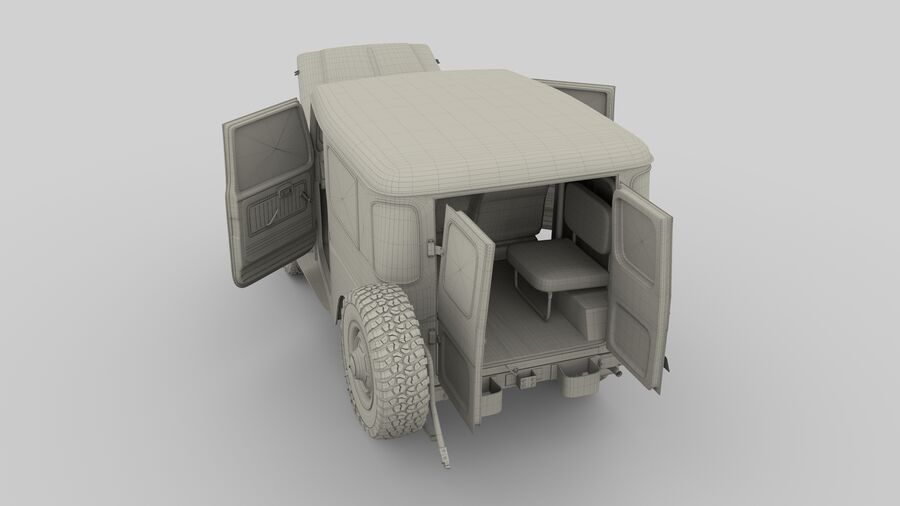 Toyota Land Cruiser FJ 40 with Interior and Chassis royalty-free 3d model - Preview no. 4