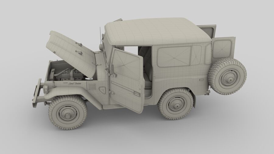 Toyota Land Cruiser FJ 40 with Interior and Chassis royalty-free 3d model - Preview no. 2