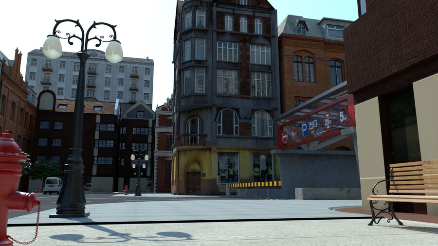 stad straat royalty-free 3d model - Preview no. 1