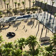 Siłownia do ćwiczeń na plaży 3d model