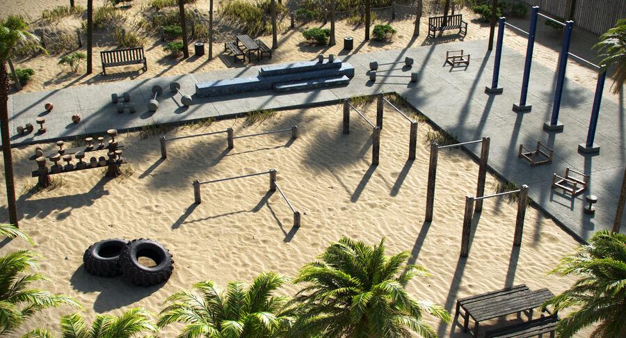 Siłownia do ćwiczeń na plaży royalty-free 3d model - Preview no. 2