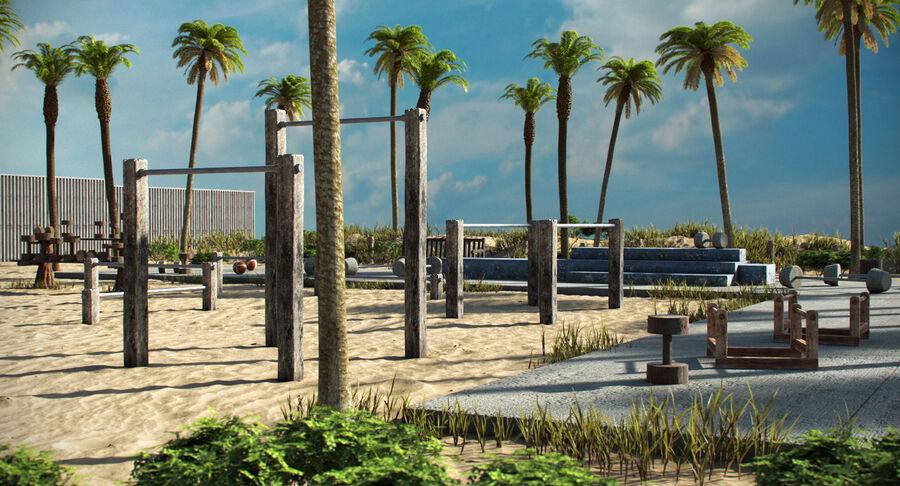 Siłownia do ćwiczeń na plaży royalty-free 3d model - Preview no. 3
