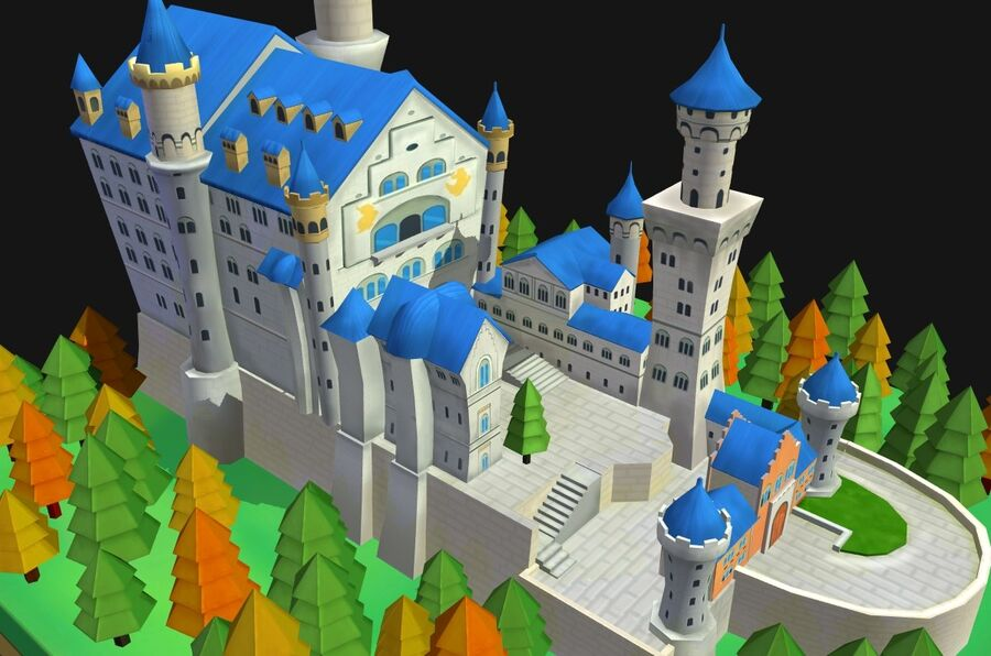 World Architecture neuschwanstein castle royalty-free 3d model - Preview no. 14
