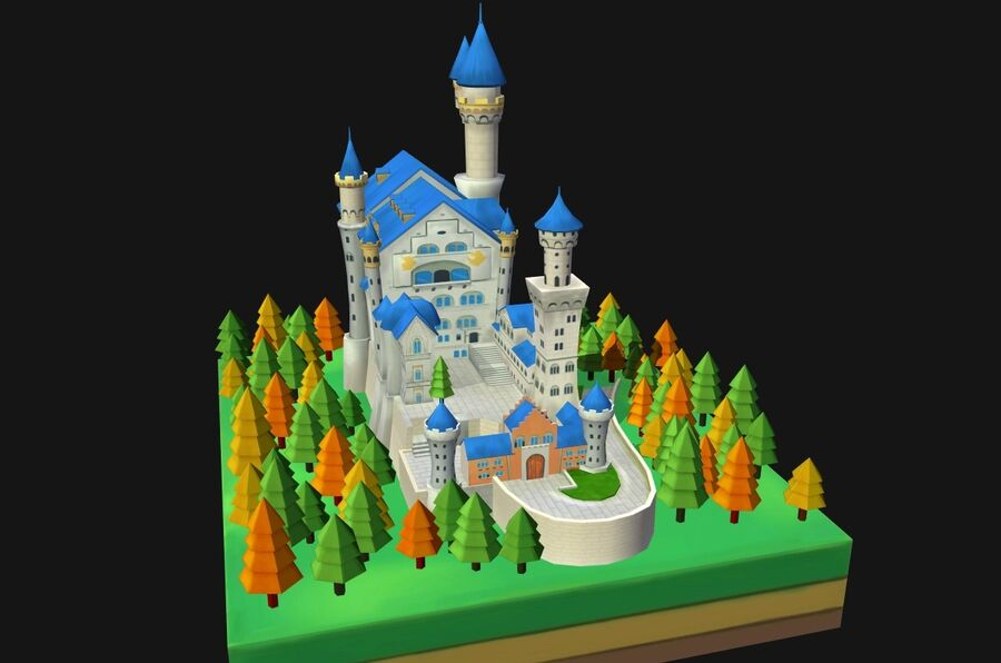 World Architecture neuschwanstein castle royalty-free 3d model - Preview no. 8