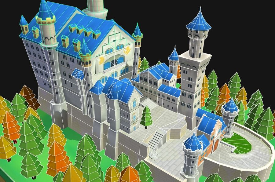 World Architecture neuschwanstein castle royalty-free 3d model - Preview no. 15