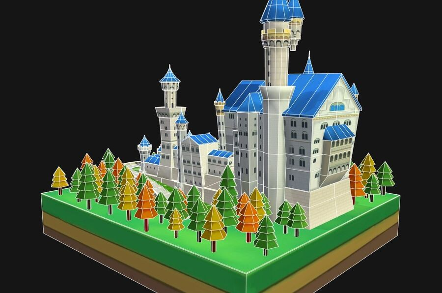 World Architecture neuschwanstein castle royalty-free 3d model - Preview no. 12