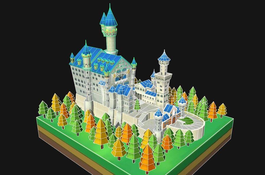 World Architecture neuschwanstein castle royalty-free 3d model - Preview no. 4