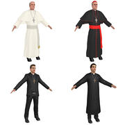Catholic Priests PACK 3d model