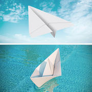 Origami Paper Boat and Plane Collection 3d model