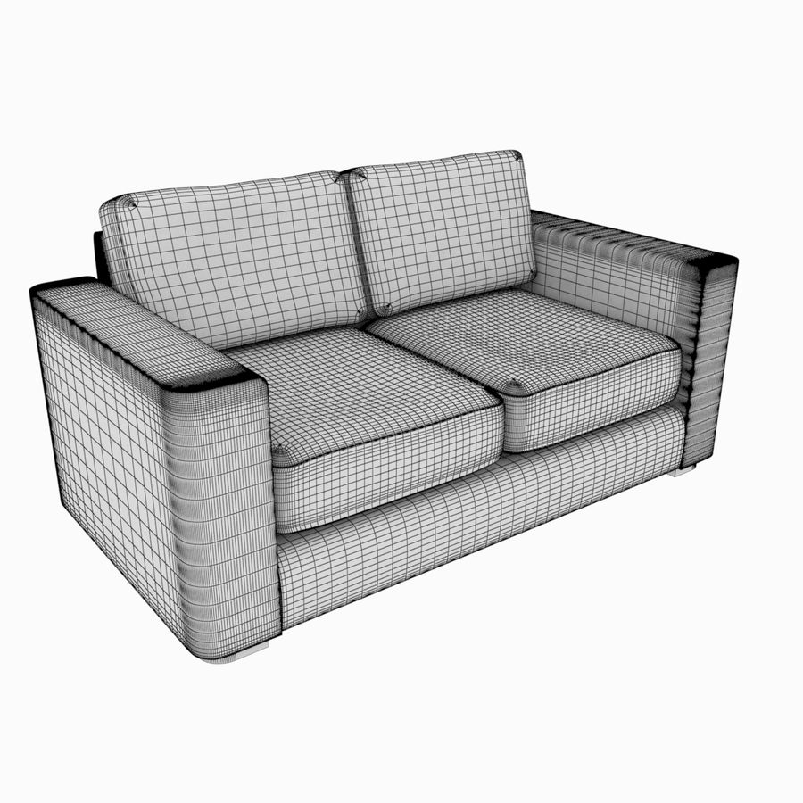 2 Seat Sofa royalty-free 3d model - Preview no. 6