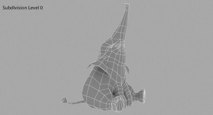 Éléphant de dessin animé royalty-free 3d model - Preview no. 9
