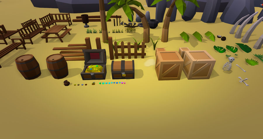 Low Poly Beach Pack royalty-free 3d model - Preview no. 7