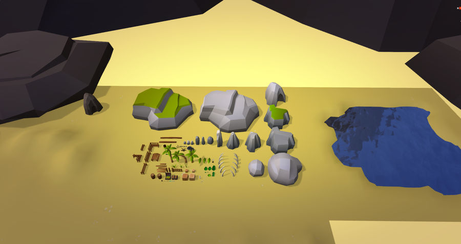Low Poly Beach Pack royalty-free 3d model - Preview no. 5