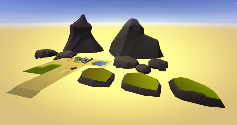 Low Poly Beach Pack royalty-free 3d model - Preview no. 2