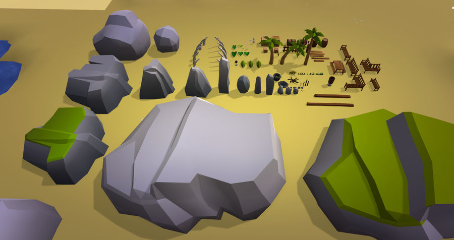 Low Poly Beach Pack royalty-free 3d model - Preview no. 11