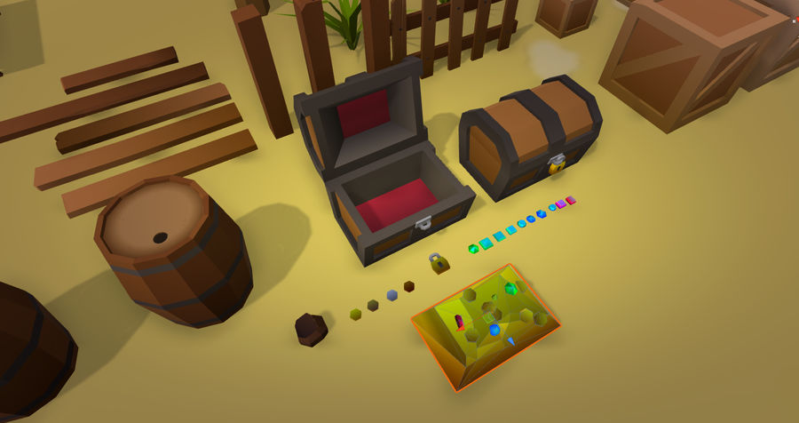 Low Poly Beach Pack royalty-free 3d model - Preview no. 8