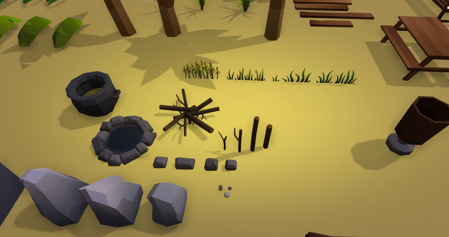 Low Poly Beach Pack royalty-free 3d model - Preview no. 6