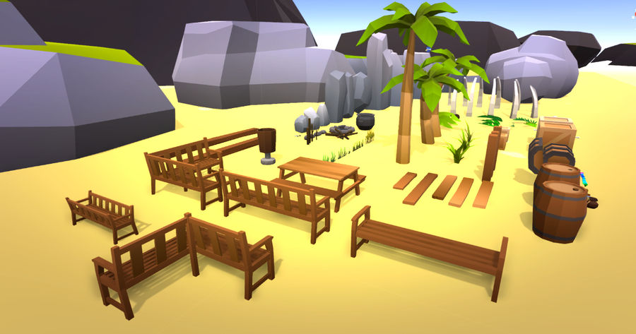 Low Poly Beach Pack royalty-free 3d model - Preview no. 1