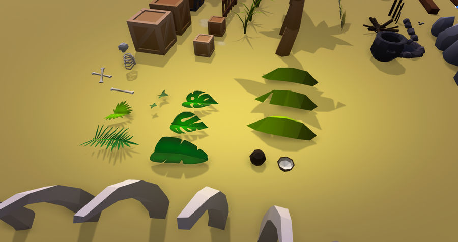 Low Poly Beach Pack royalty-free 3d model - Preview no. 9
