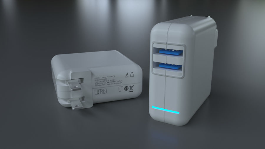 USB 3 Charger royalty-free 3d model - Preview no. 1