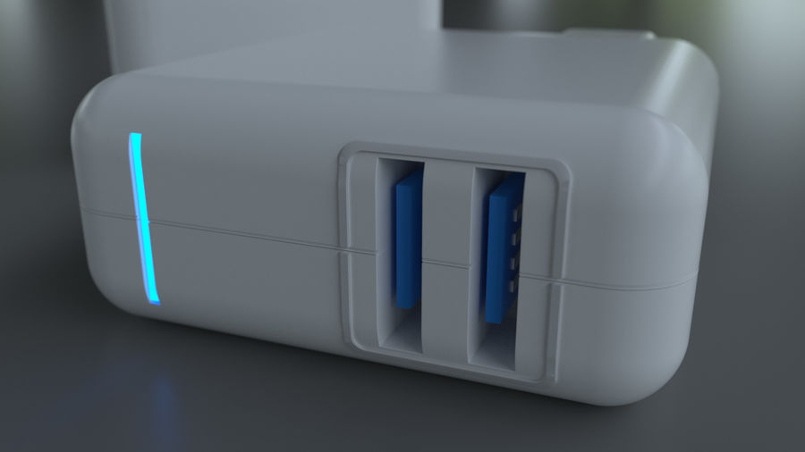 USB 3 Charger royalty-free 3d model - Preview no. 3