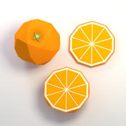 Low poly cartoon orange fruit 3d model