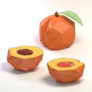 Low poly cartoon peach 3d model