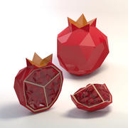 Low poly cartoon pomegranate 3d model