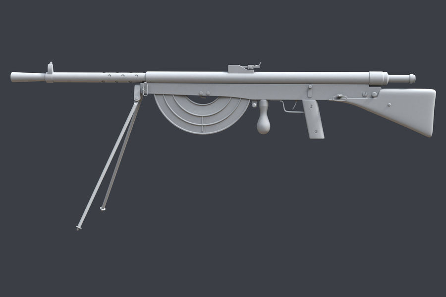 Chauchat M1915 royalty-free 3d model - Preview no. 3