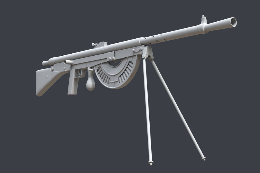 Chauchat M1915 royalty-free 3d model - Preview no. 4