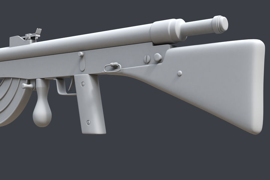 Chauchat M1915 royalty-free 3d model - Preview no. 6