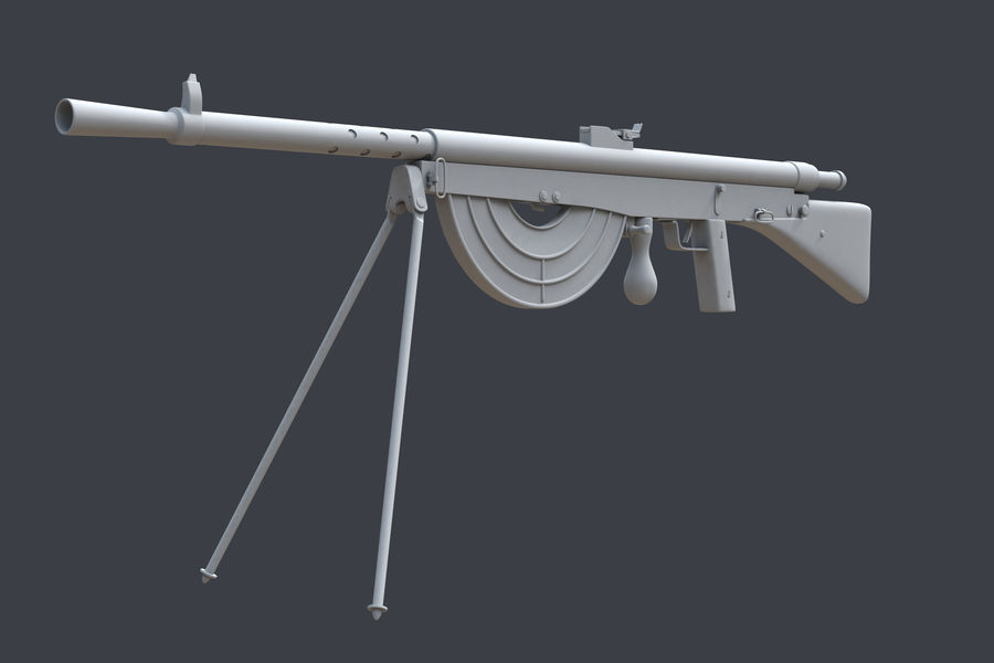 Chauchat M1915 royalty-free 3d model - Preview no. 5
