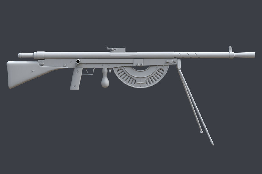 Chauchat M1915 royalty-free 3d model - Preview no. 2