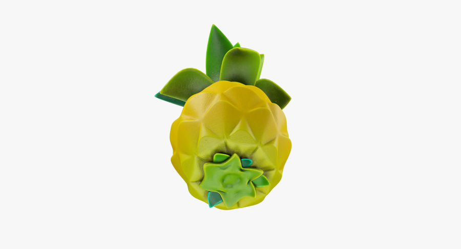 Cartoon Pineapple royalty-free 3d model - Preview no. 7
