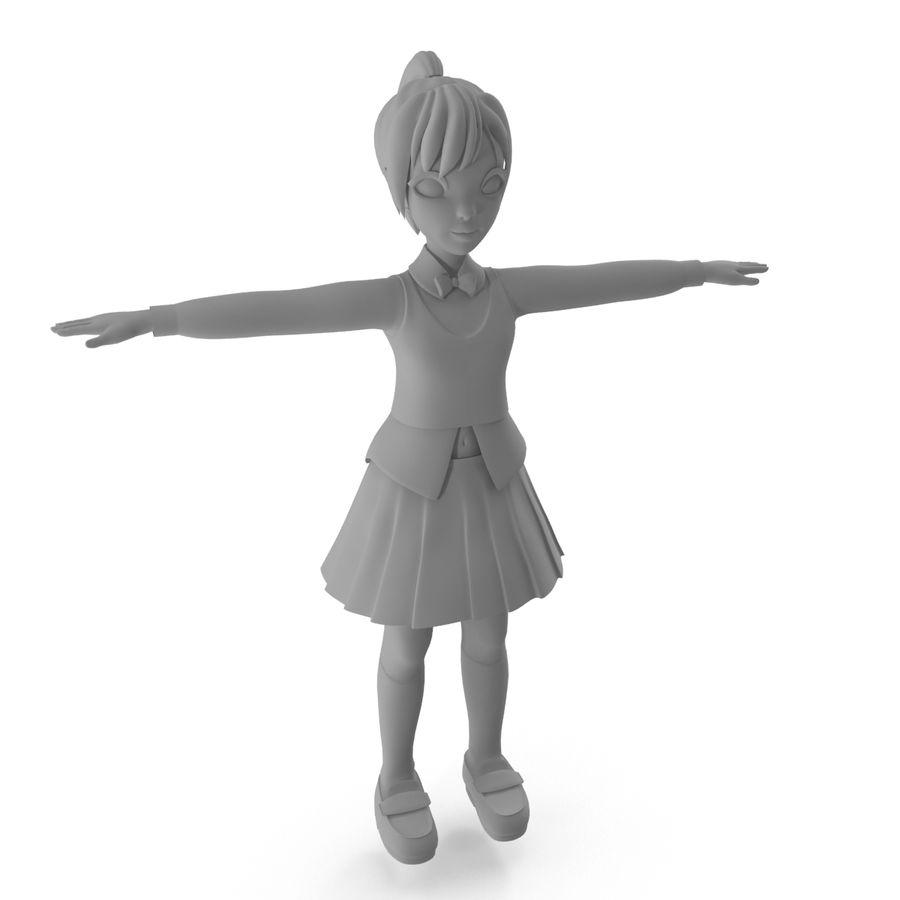 漫画の女の子の女性 royalty-free 3d model - Preview no. 7
