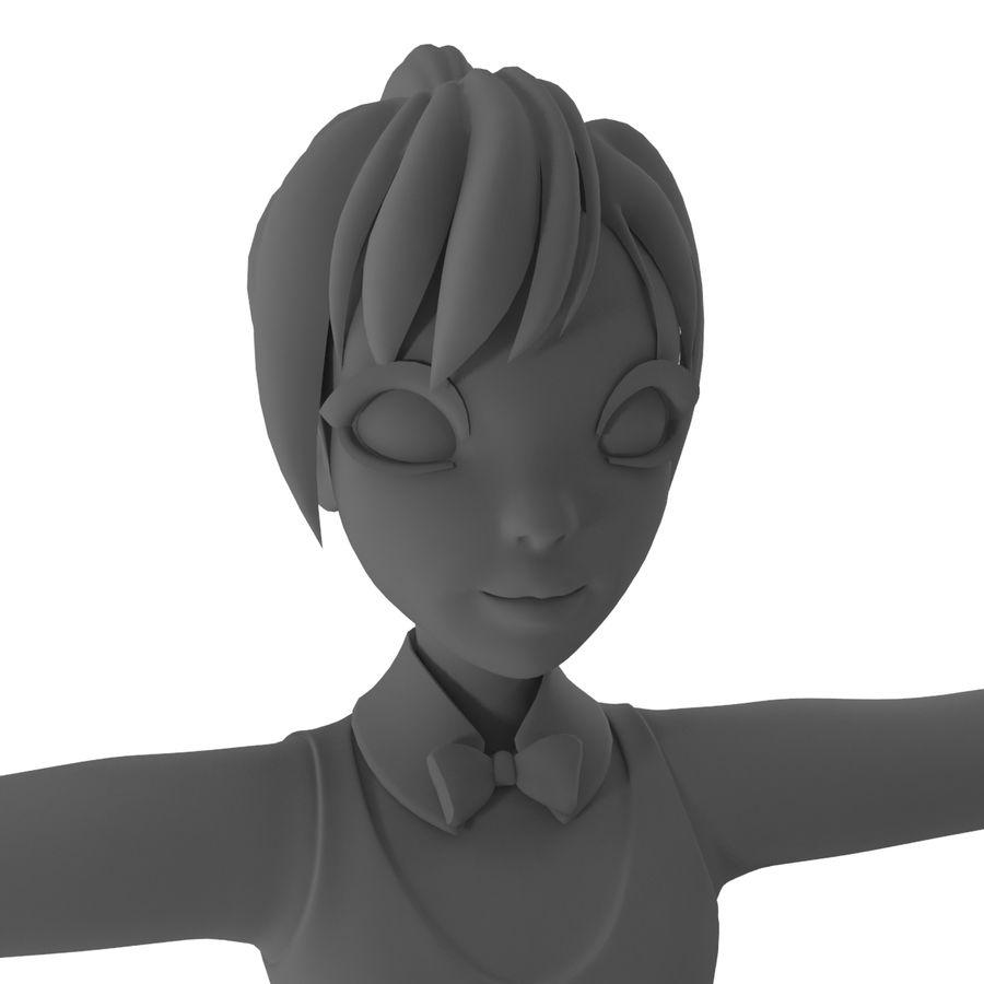 漫画の女の子の女性 royalty-free 3d model - Preview no. 10