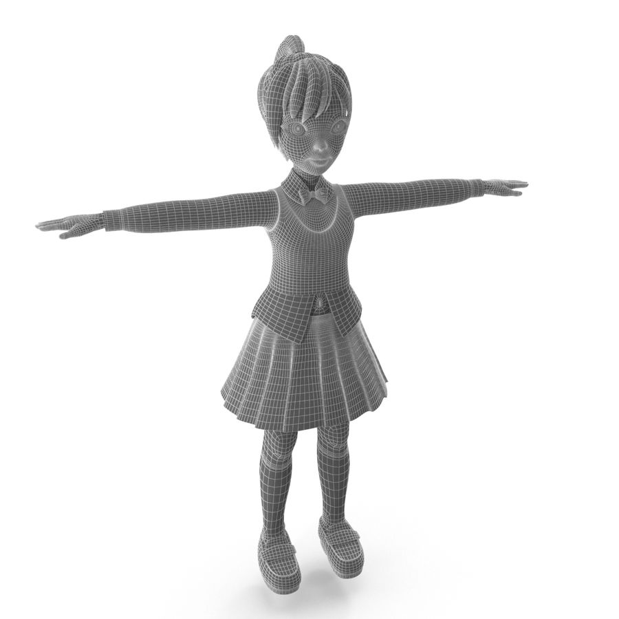 漫画の女の子の女性 royalty-free 3d model - Preview no. 8