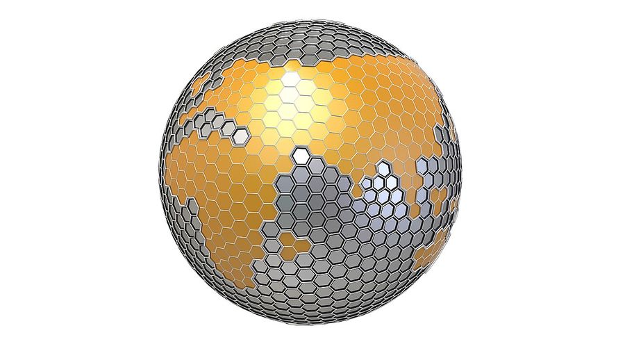Шестиугольник планеты Земля royalty-free 3d model - Preview no. 2