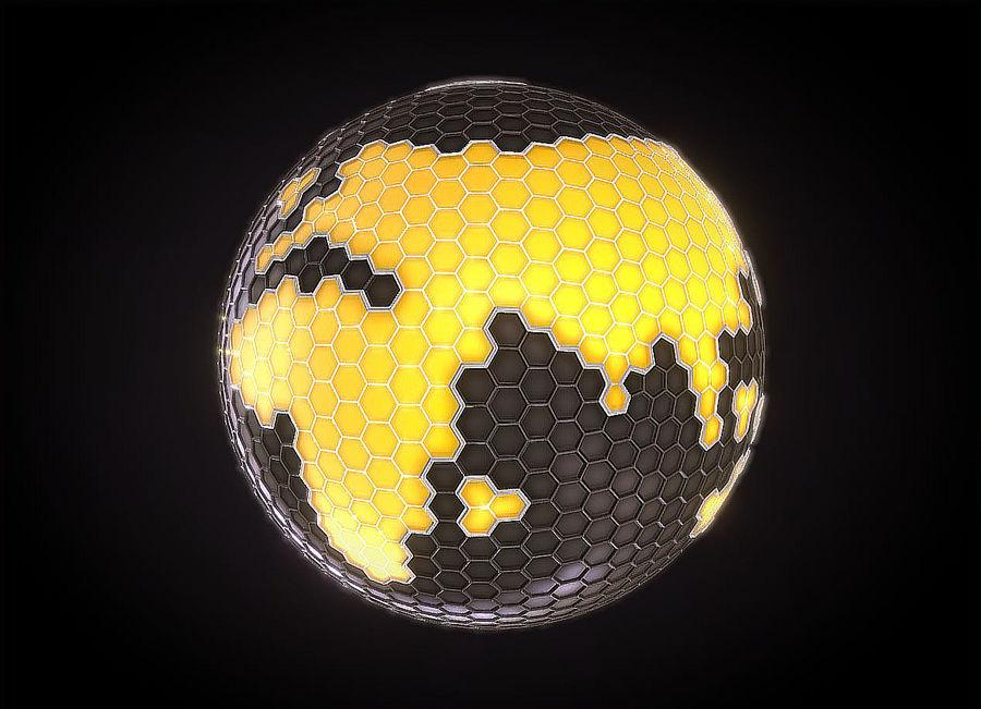 Шестиугольник планеты Земля royalty-free 3d model - Preview no. 3