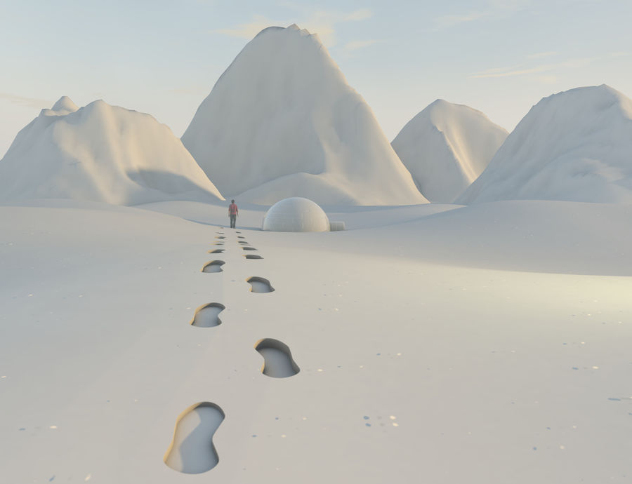 snow mountains  landscape royalty-free 3d model - Preview no. 1
