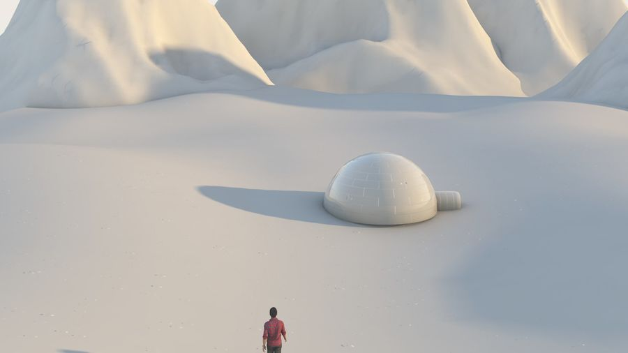snow mountains  landscape royalty-free 3d model - Preview no. 5