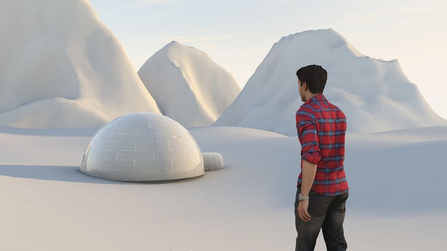 snow mountains  landscape royalty-free 3d model - Preview no. 2