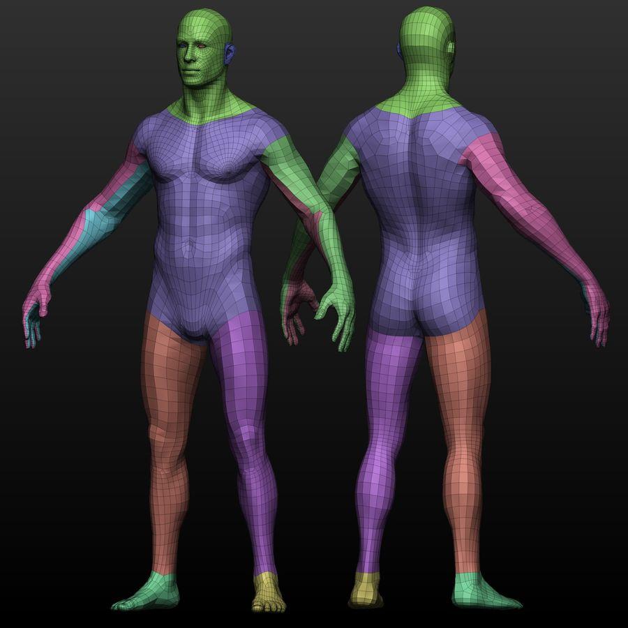 Base mesh male body royalty-free 3d model - Preview no. 9
