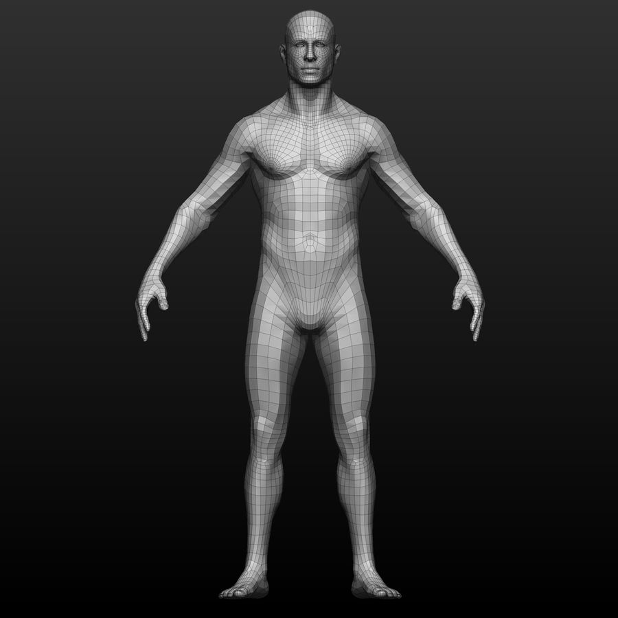 Base mesh male body royalty-free 3d model - Preview no. 2