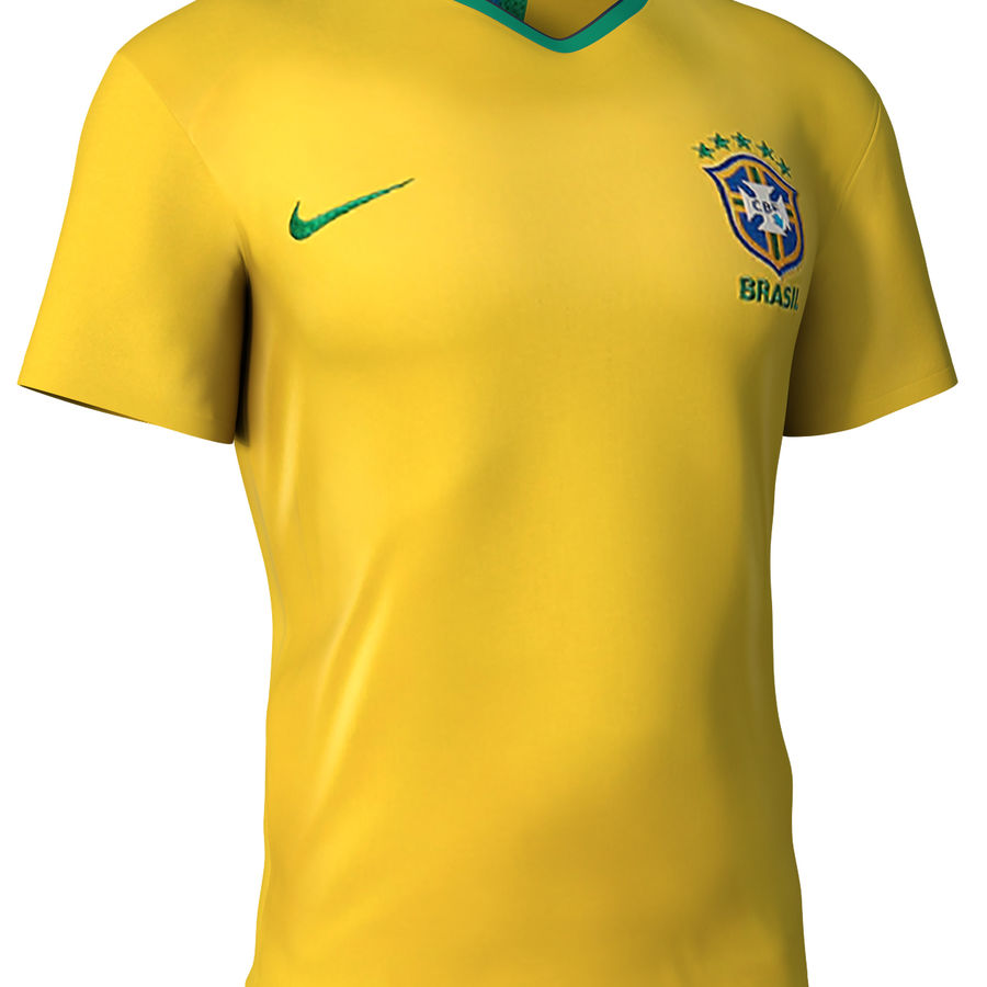 Soccer Shirt Brasil royalty-free 3d model - Preview no. 3