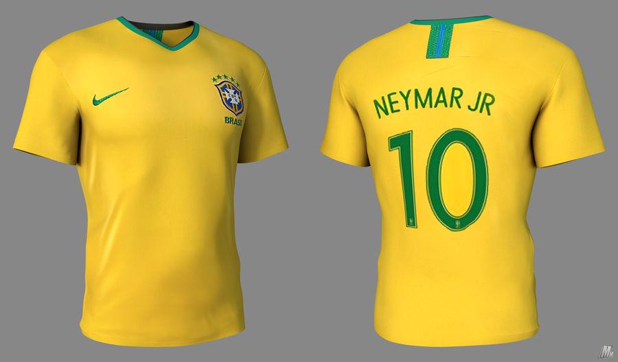 Soccer Shirt Brasil royalty-free 3d model - Preview no. 2