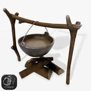 篝火与烹饪锅 3d model