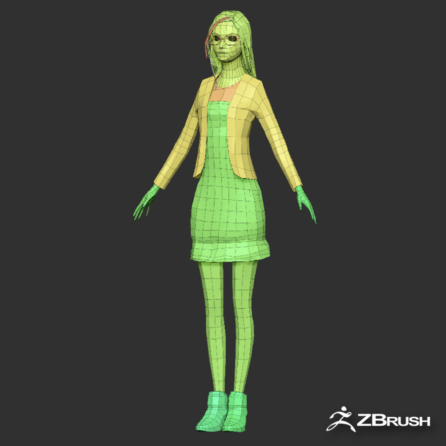 Anime female character royalty-free 3d model - Preview no. 16
