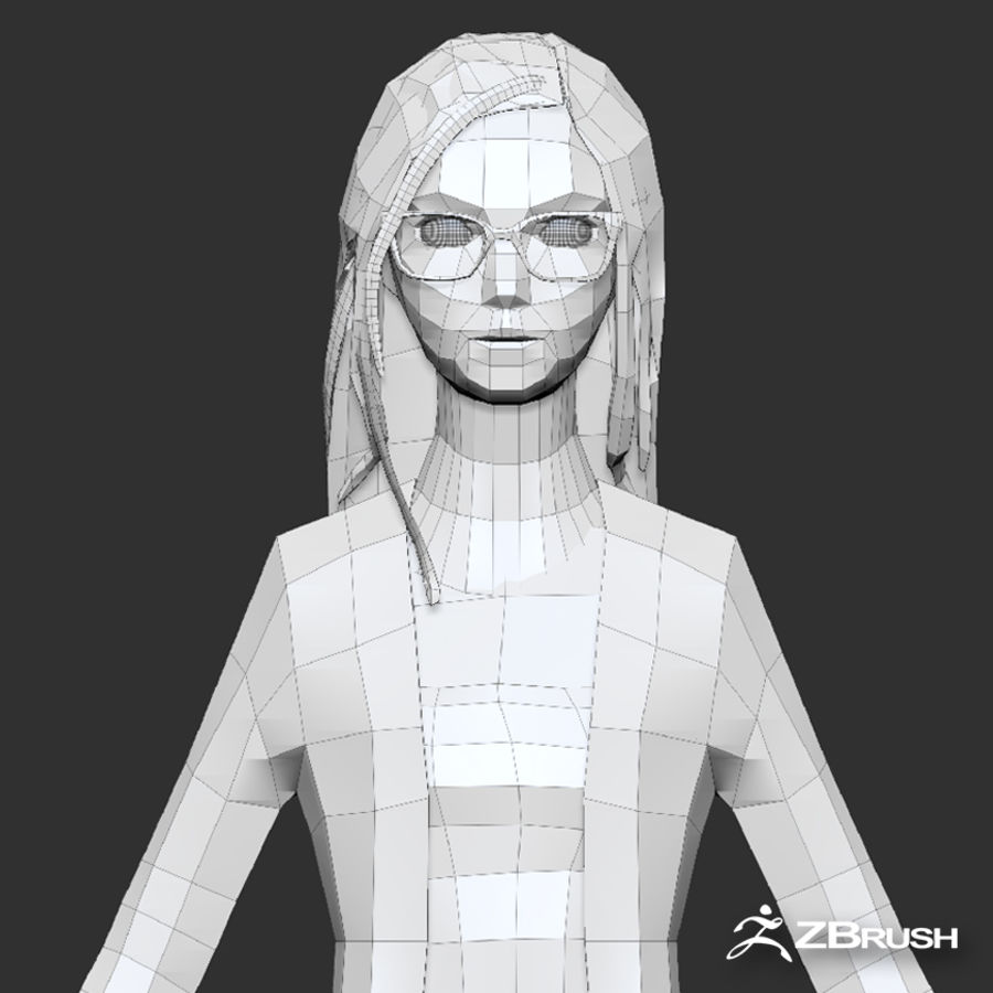 Anime female character royalty-free 3d model - Preview no. 15